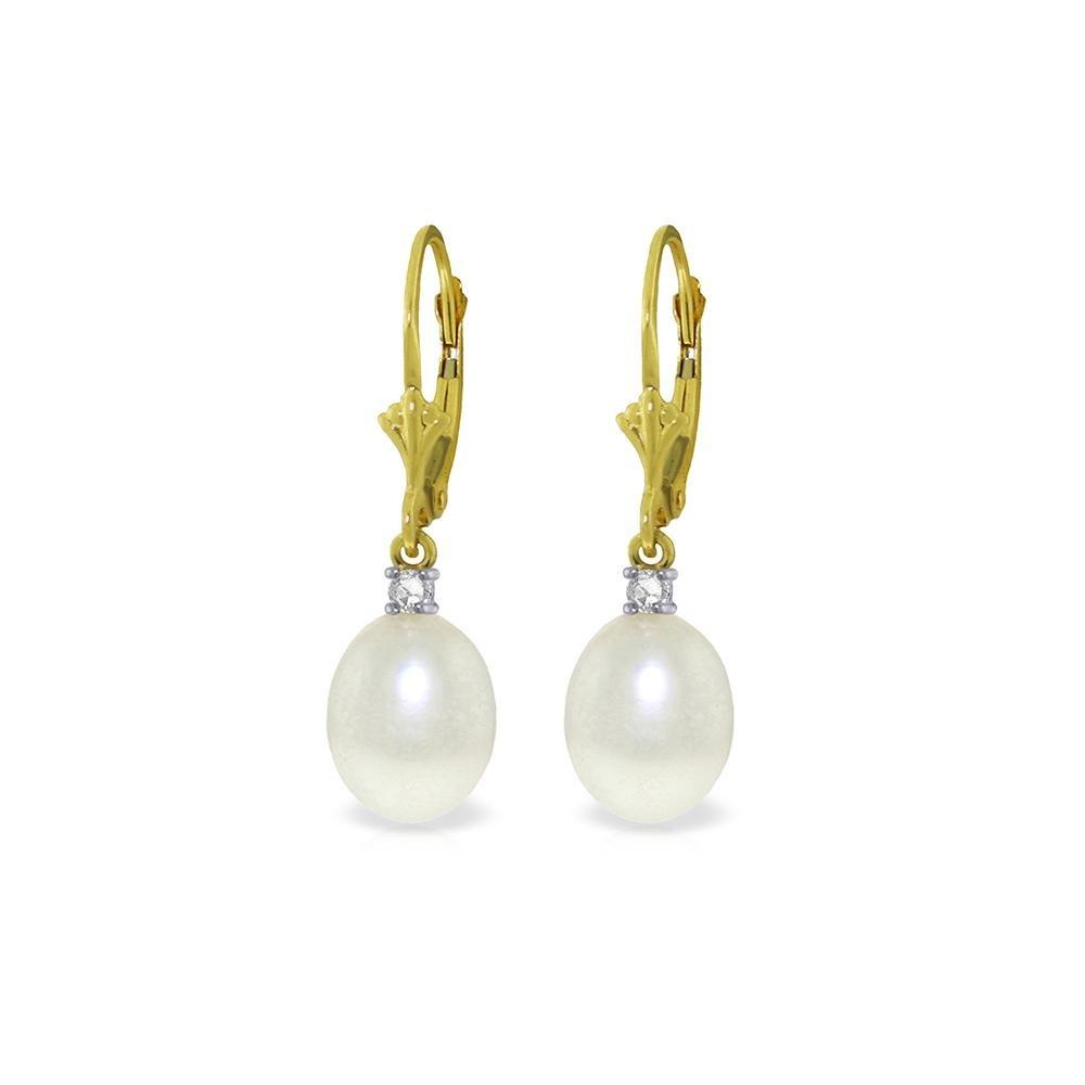 Genuine 8.1 ctw Pearl & Diamond Earrings 14KT Yellow