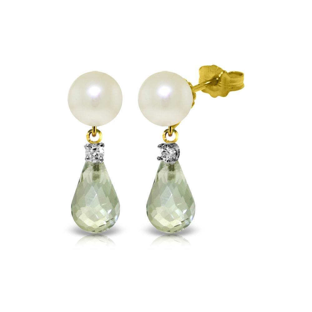 Genuine 6.6 ctw Green Amethyst, Pearl & Diamond