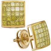 097 CTW Diamond Square Cluster Earrings 10K Yellow