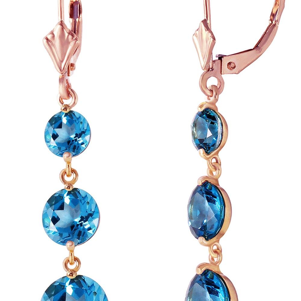 Genuine 7.2 ctw Blue Topaz Earrings 14KT Rose Gold -
