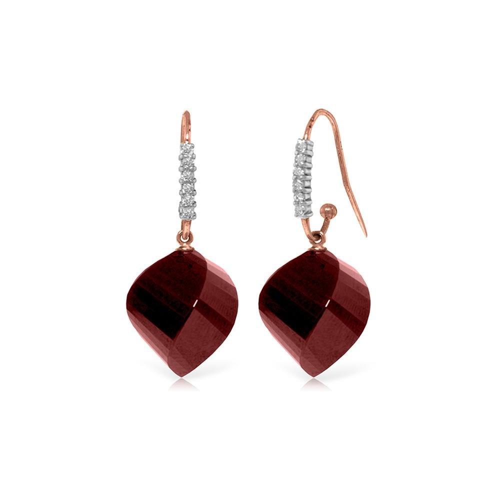 Genuine 30.68 ctw Ruby & Diamond Earrings 14KT Rose