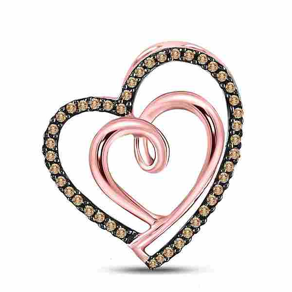 0.14 CTW Brown Diamond Heart Pendant 10K Rose Gold -