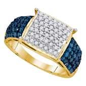1 TCW Blue Diamond  White Diamond Ring 10K Yellow Gold
