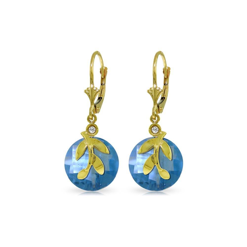 Genuine 10.63 ctw Blue Topaz & Diamond Earrings 14KT