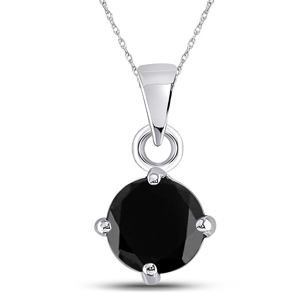 2 CTW Black Diamond Solitaire Pendant 10K White Gold -