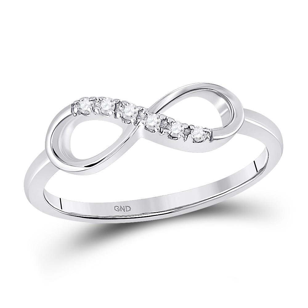 0.05 CTW Diamond Infinity Ring 10K White Gold -
