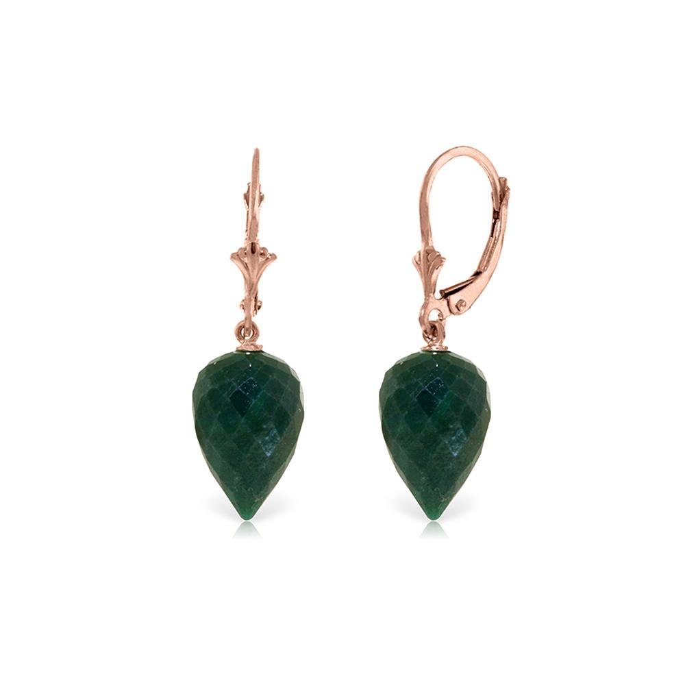 Genuine 25.7 ctw Green Sapphire Corundum Earrings 14KT