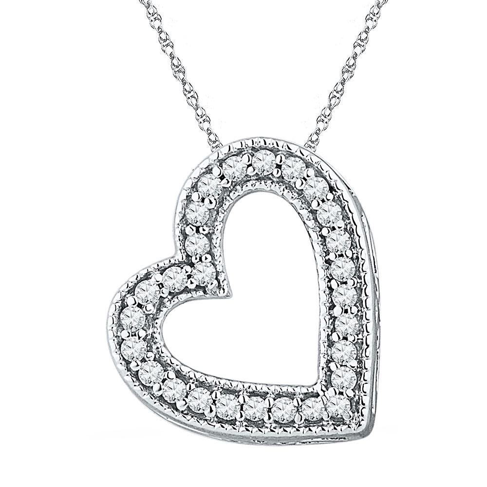 0.12 CTW Diamond Heart Pendant 10K White Gold -