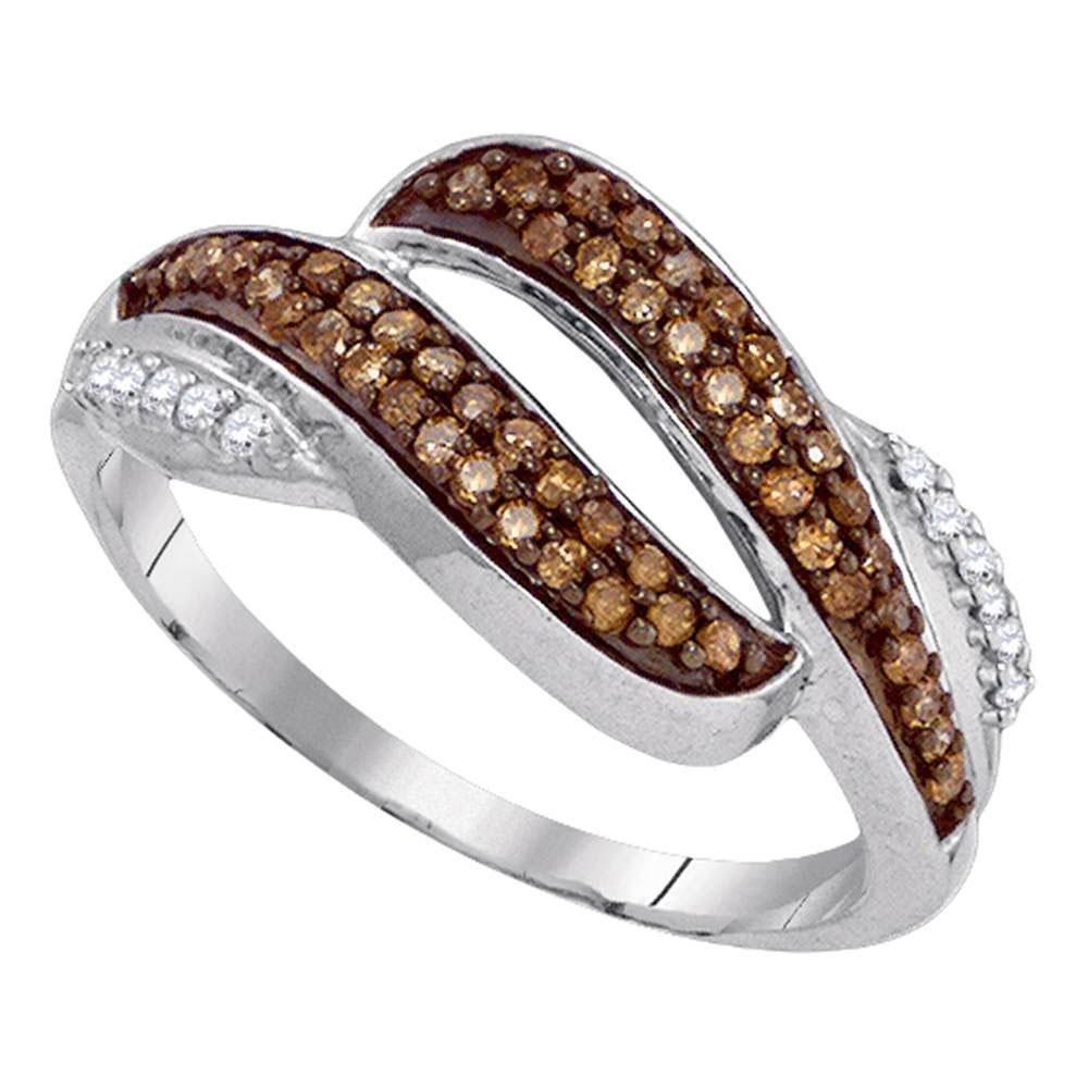 0.33 TCW Brown Diamond & White Diamond Ring 10K White