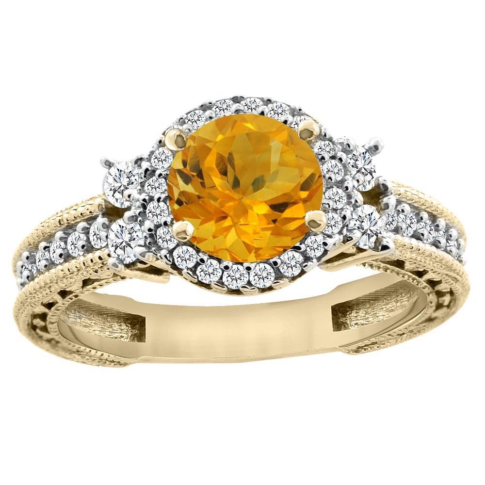 1.46 CTW Citrine & Diamond Ring 14K Yellow Gold -
