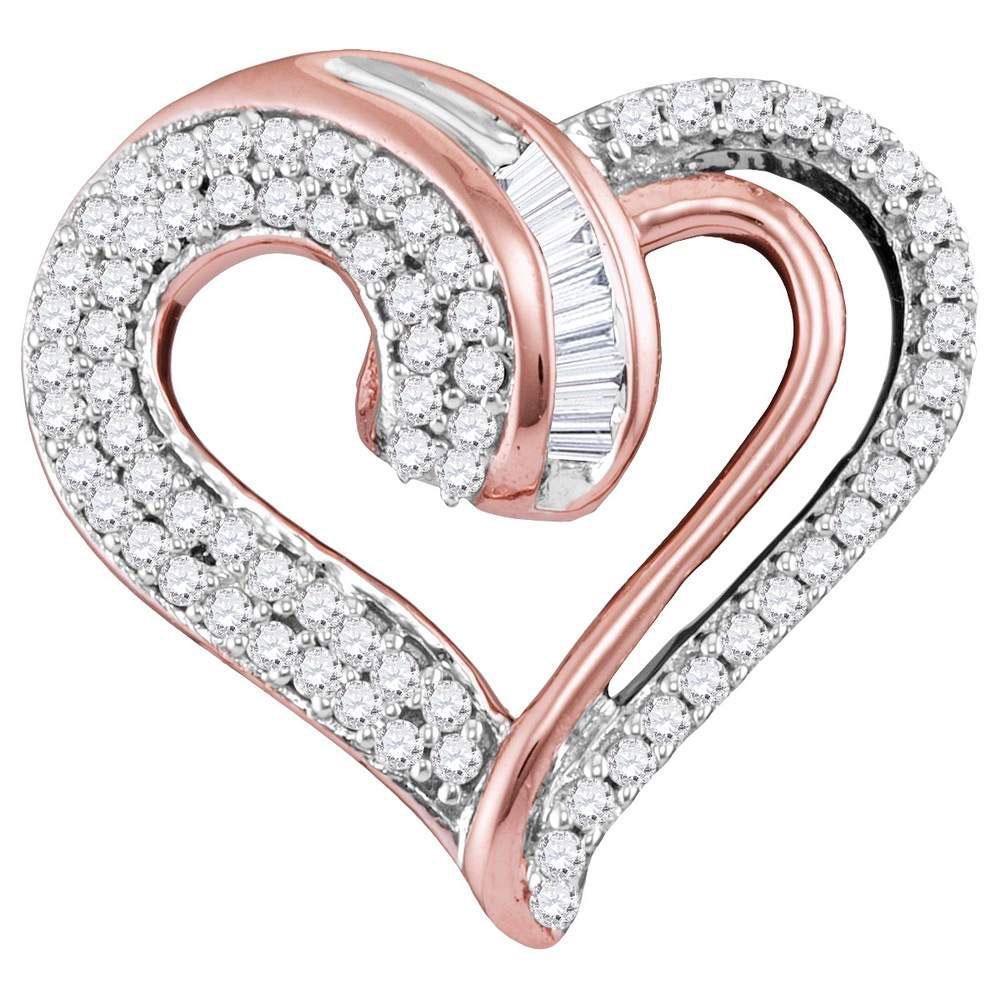 0.25 CTW Diamond Curled Heart Pendant 10K Rose Gold -