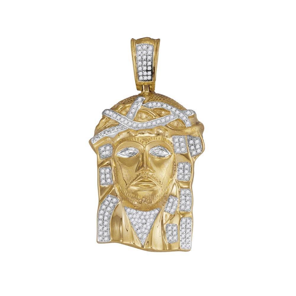 0.43 CTW Diamond Jesus Christ Pendant 10K Yellow Gold -