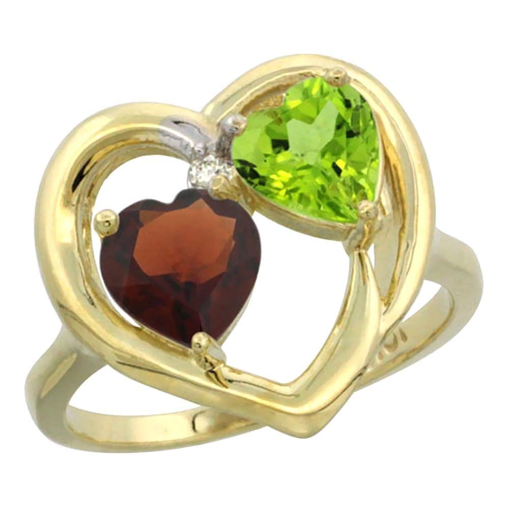 2.61 CTW Diamond, Garnet & Peridot Ring 14K Yellow Gold