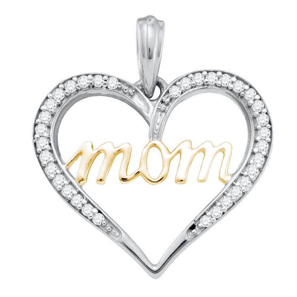 0.11 CTW Diamond Mom Mother Pendant 10K 2-tone Gold -