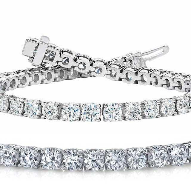 Natural 6ct VS-SI Diamond Tennis Bracelet 14K White