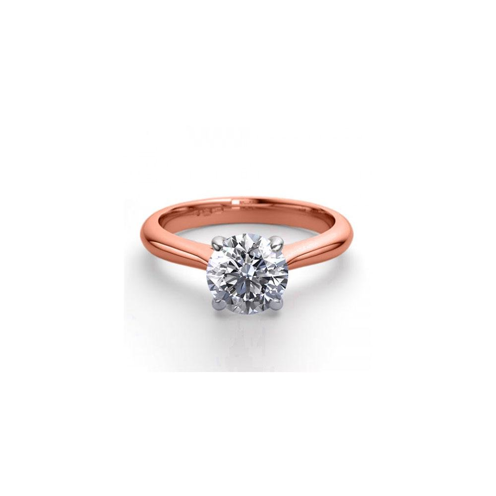 14K Rose Gold 1.36 ctw Natural Diamond Solitaire Ring -