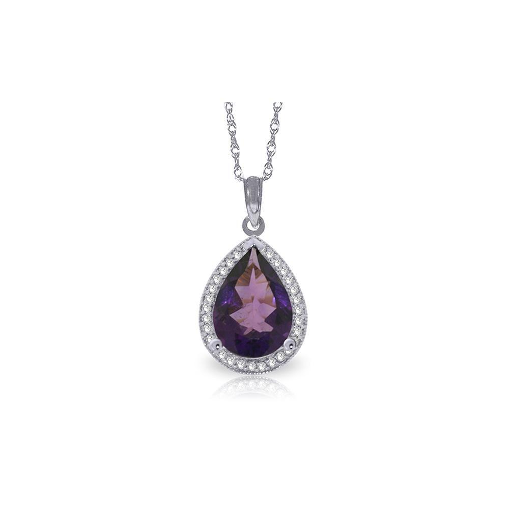 Genuine 3.41 ctw Amethyst & Diamond Necklace 14KT White