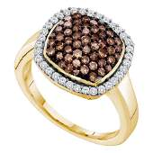 Round Brown Diamond Square Cluster Ring 78 Cttw 10kt