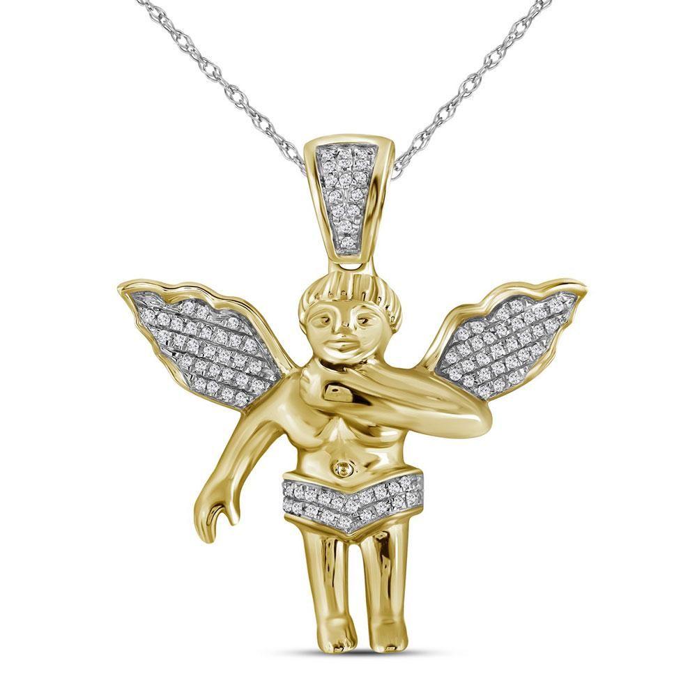 Mens Diamond Polished 3D Guardian Angel Cherub Charm