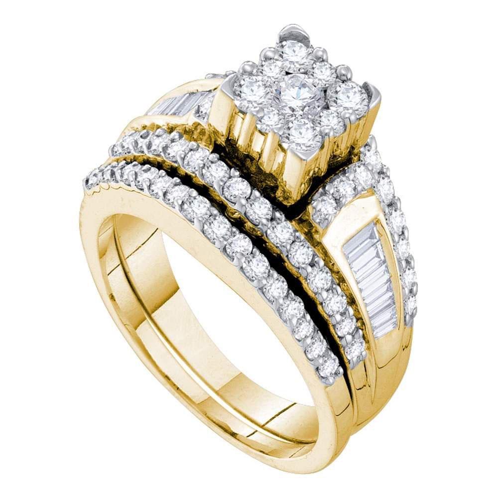 Diamond Bridal Wedding Engagement Ring Band Set 1-1/2