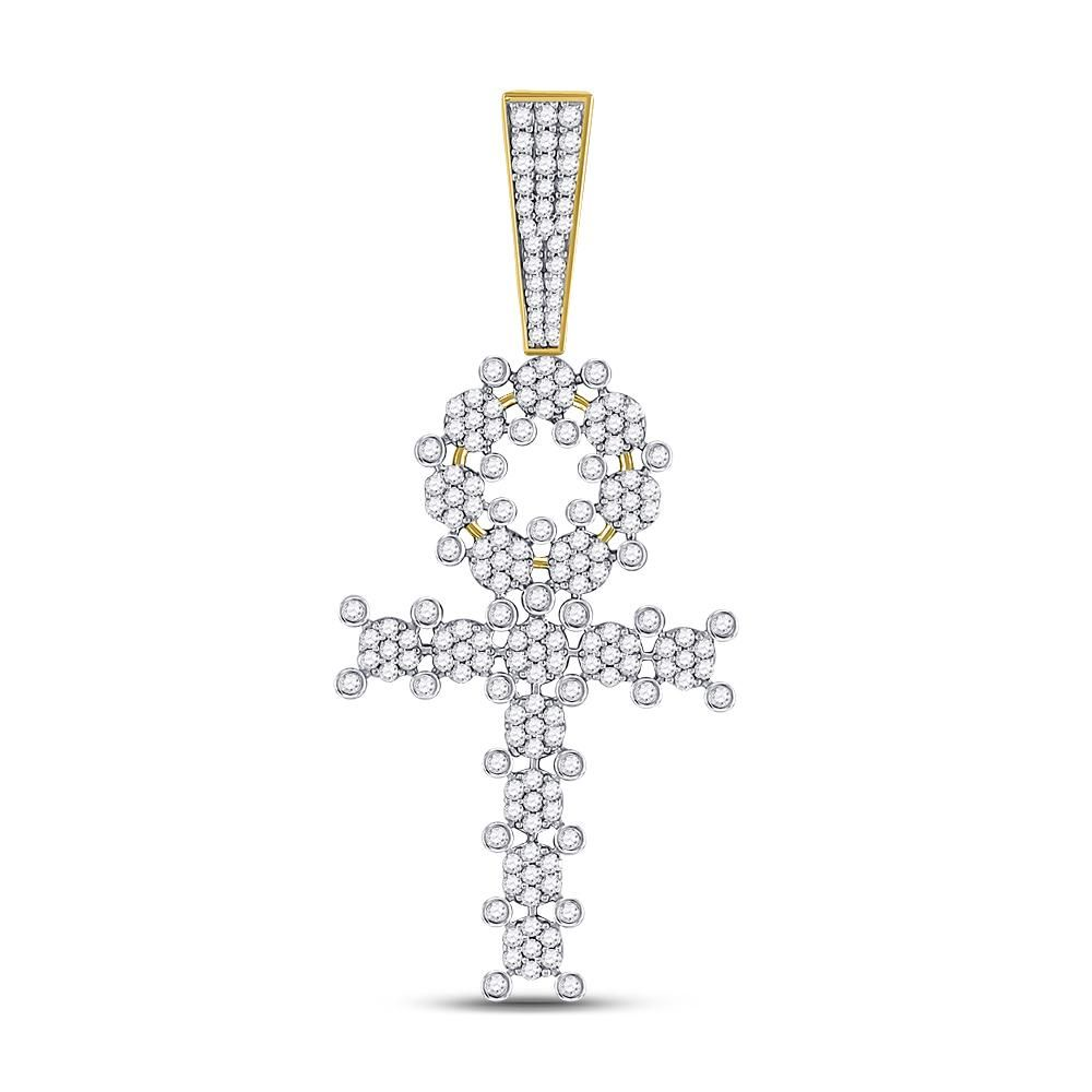 Mens Diamond Ankh Cross Charm Pendant 1.00 Cttw 10kt
