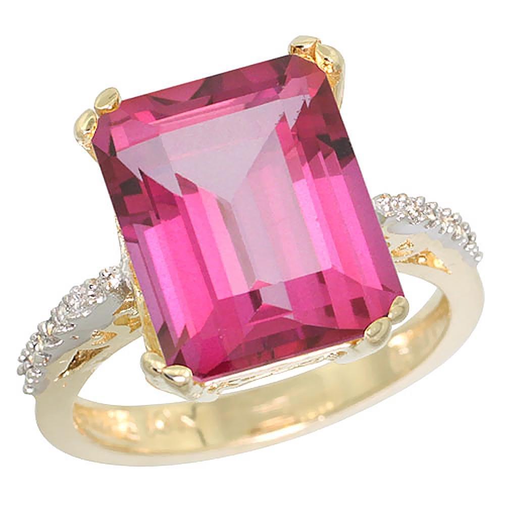 5.52 CTW Pink Topaz & Diamond Ring 10K Yellow Gold -