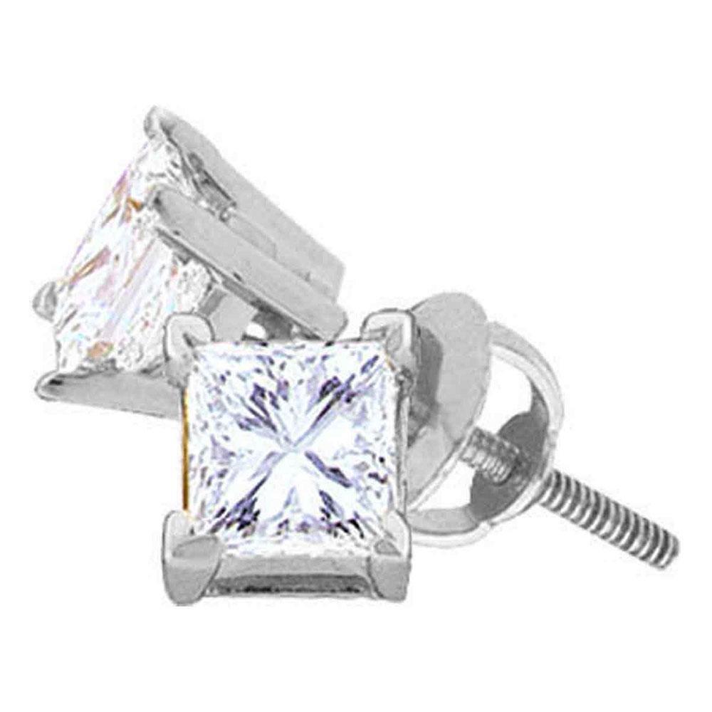 Diamond Solitaire Stud Earrings 5/8 Cttw 14kt White