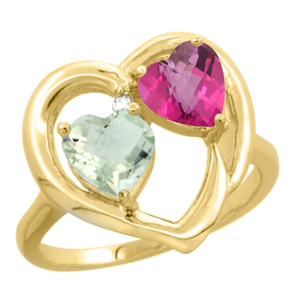 2.61 CTW Diamond, Amethyst & Pink Topaz Ring 14K Yellow