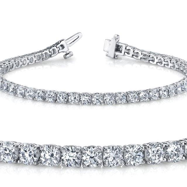 Natural 4.04ct VS-SI Diamond Tennis Bracelet 14K White
