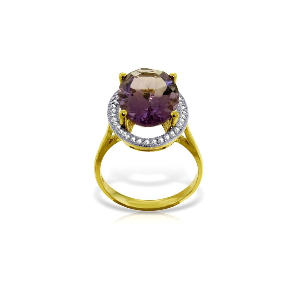 Genuine 5.28 ctw Amethyst & Diamond Ring 14KT Yellow