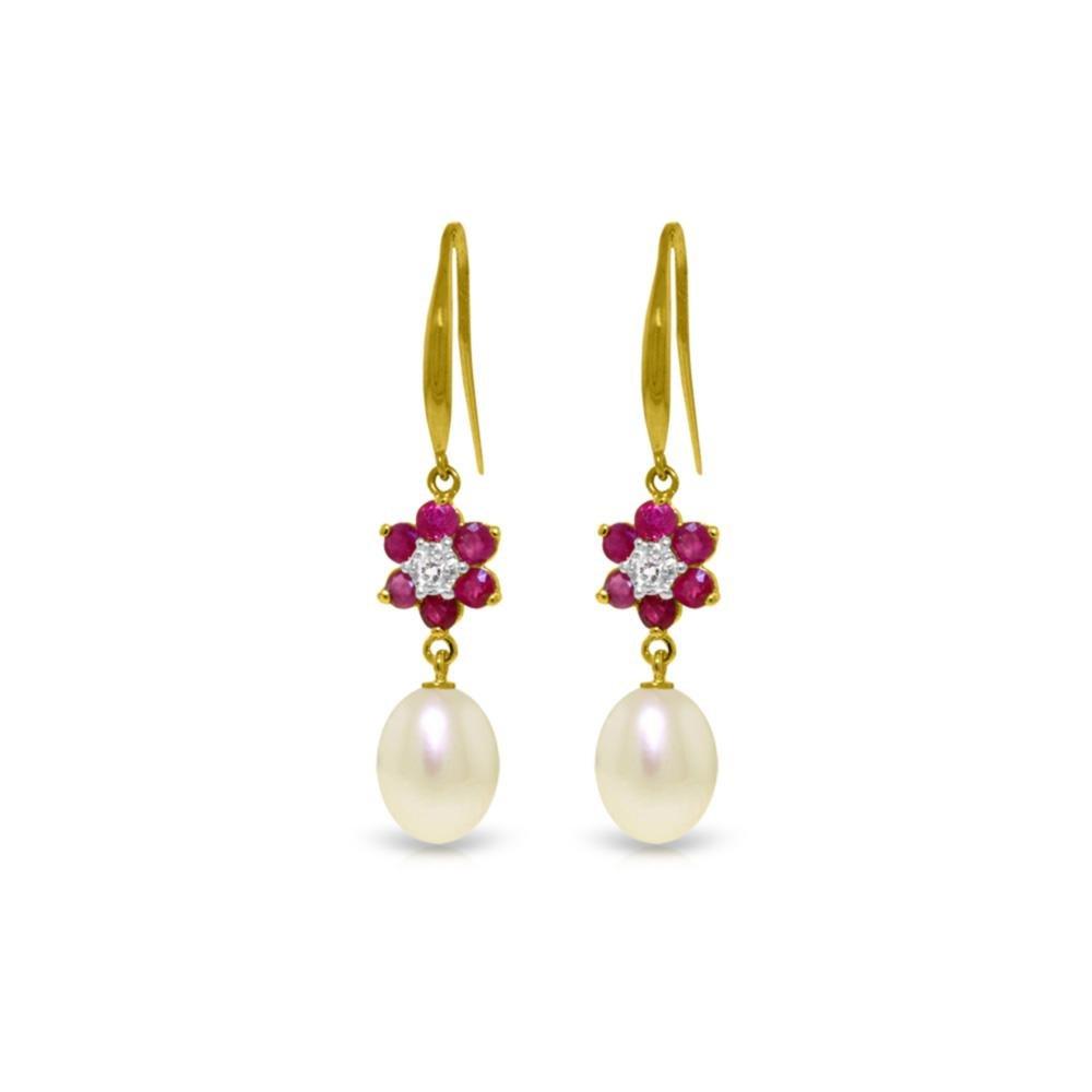 Genuine 9.01 ctw Ruby, Pearl & Diamond Earrings 14KT