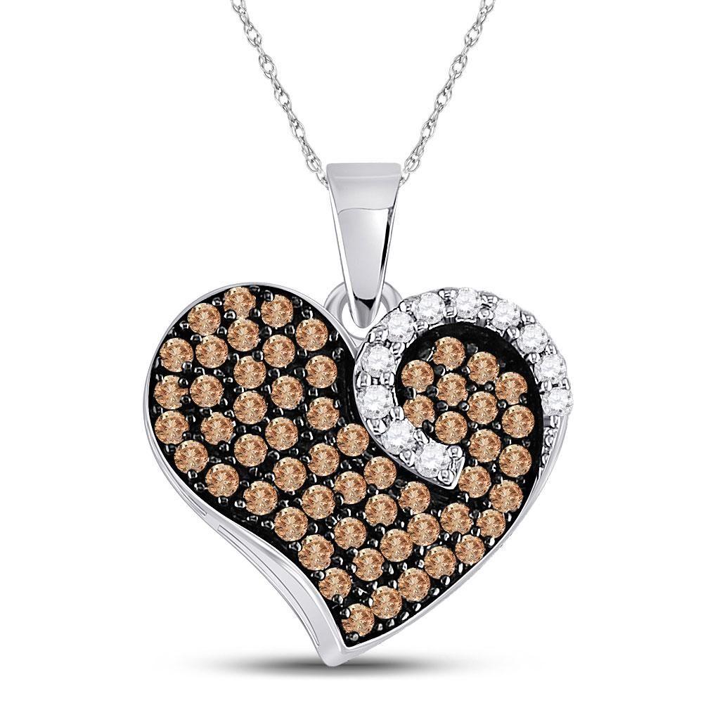 Brown Diamond Unique Heart Cluster Pendant 34 Cttw 10k