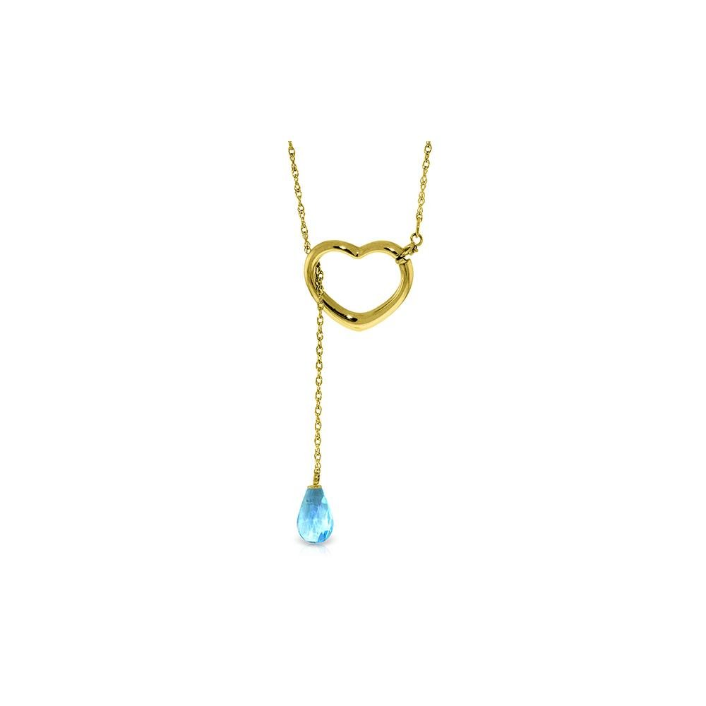 Genuine 2.25 ctw Blue Topaz Necklace 14KT Yellow Gold -