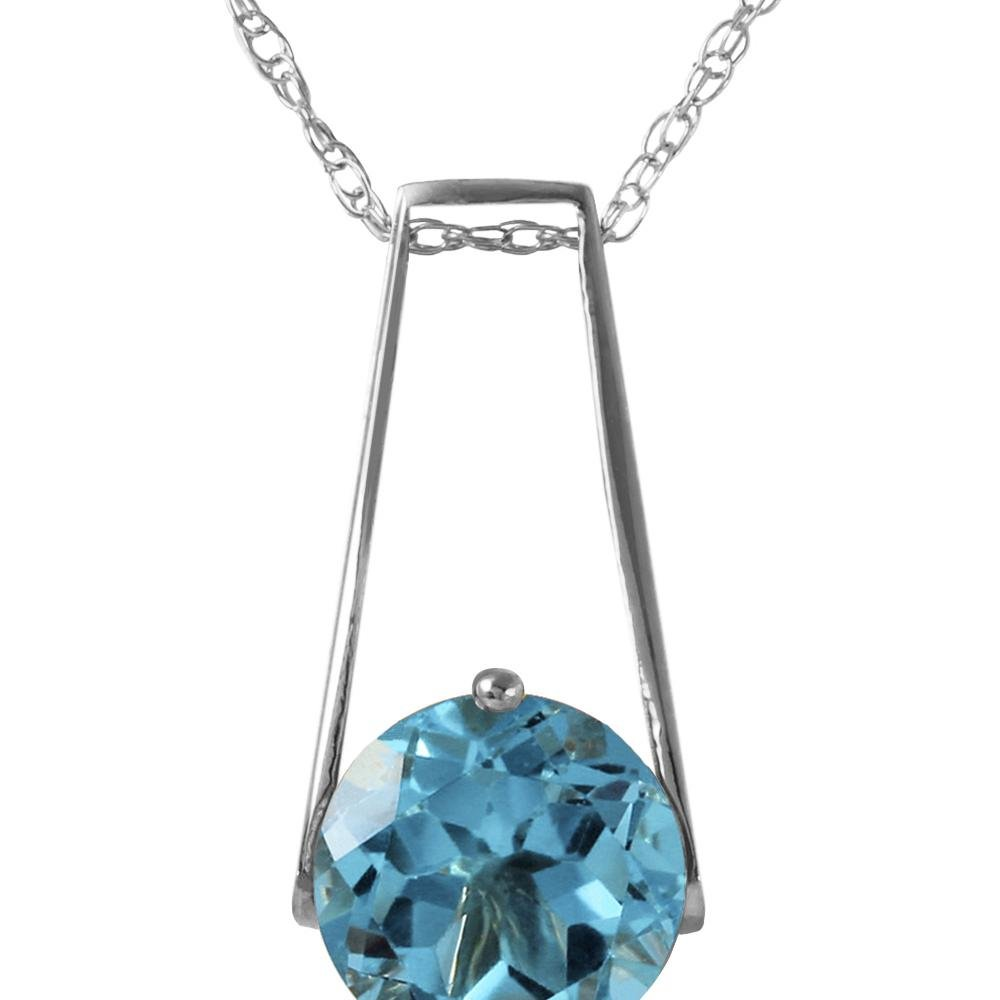 Genuine 1.45 ctw Blue Topaz Necklace 14KT White Gold -