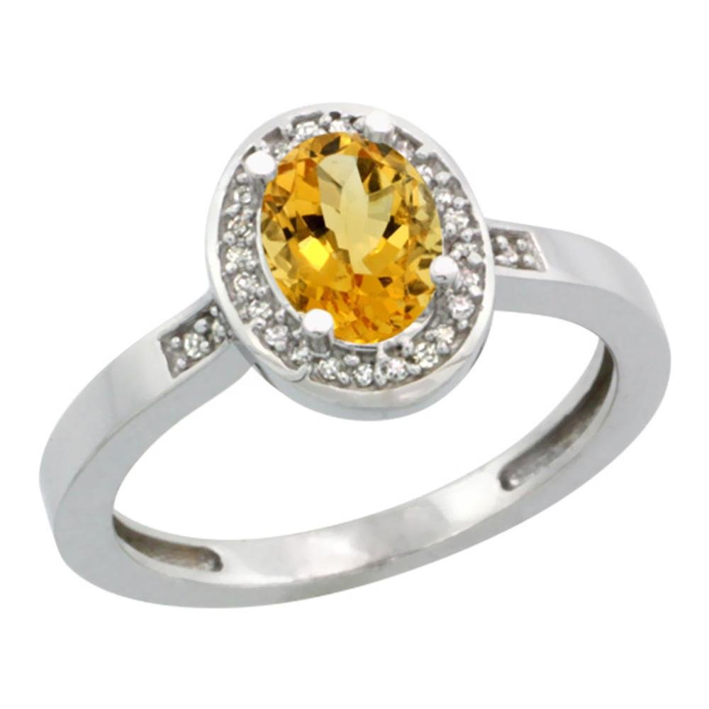 1.15 CTW Citrine & Diamond Ring 14K White Gold -