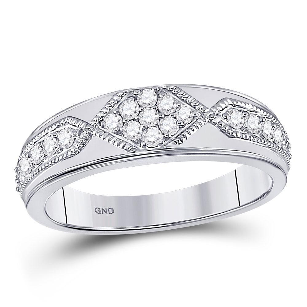 Mens Diamond Milgrain Wedding Band Ring 1/2 Cttw 14kt