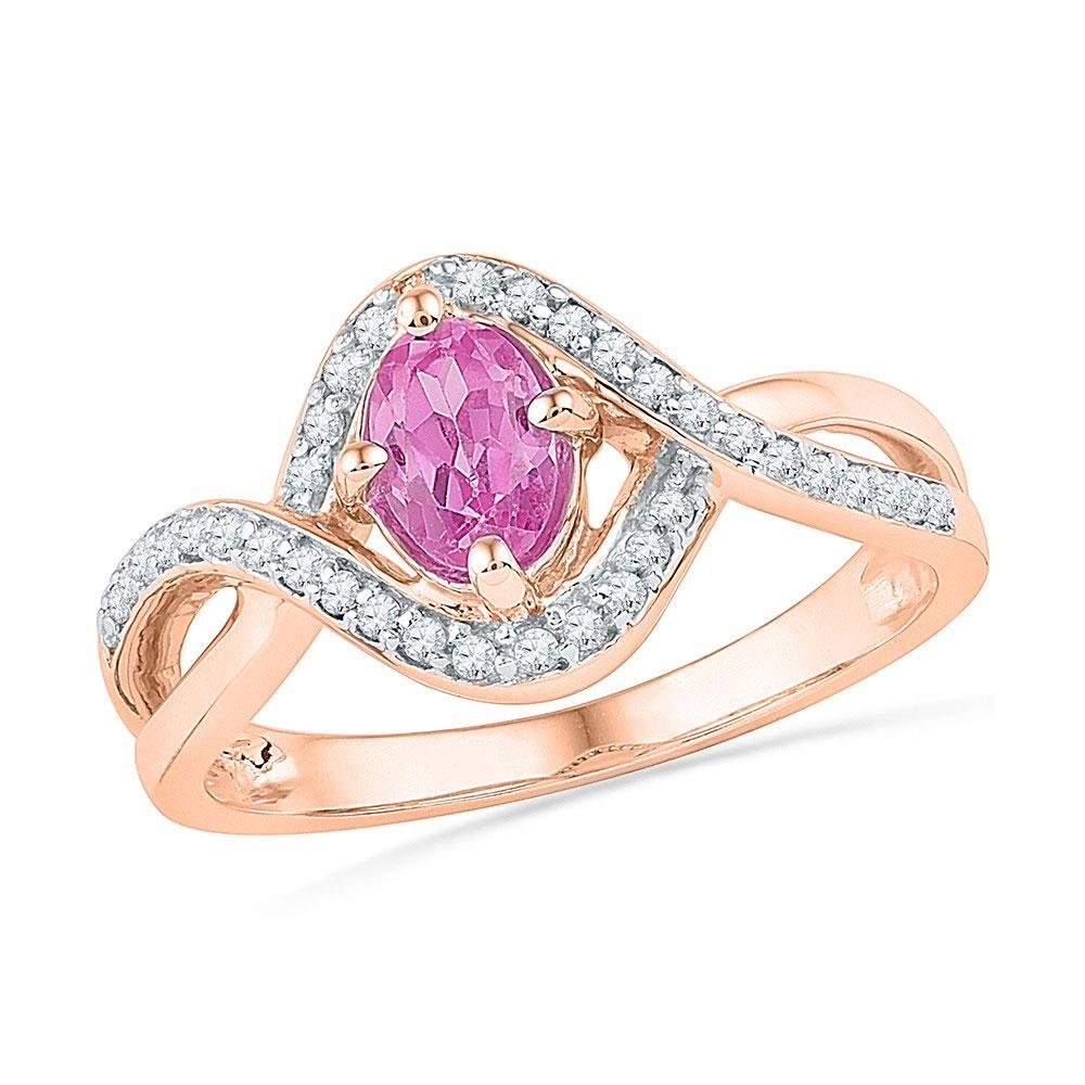 Oval Lab-Created Pink Sapphire Solitaire Twist Ring 1/2