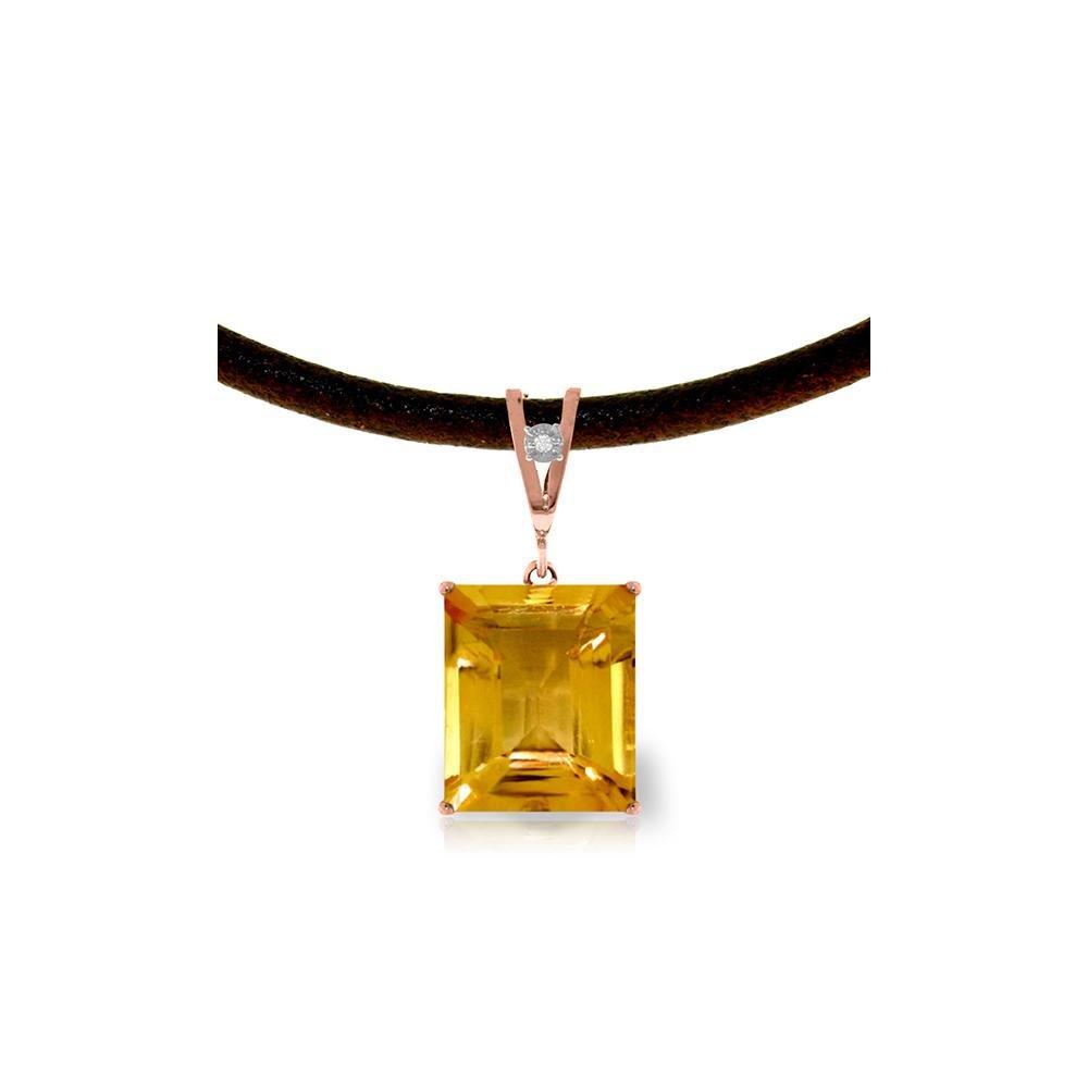Genuine 6.51 ctw Citrine & Diamond Necklace 14KT Rose