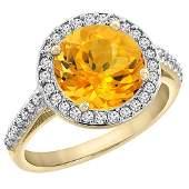 244 CTW Citrine  Diamond Ring 14K Yellow Gold