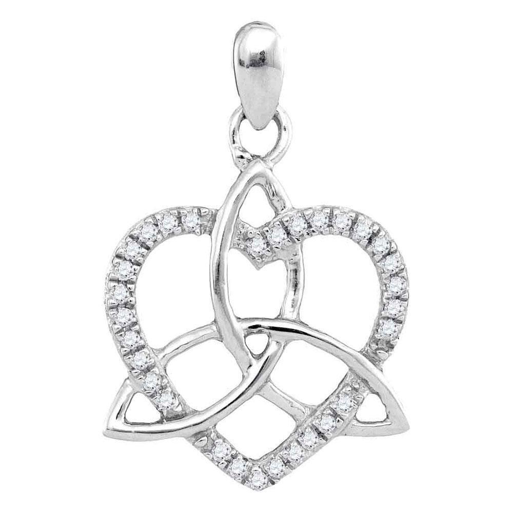 0.10 CTW Diamond Triquetra Heart Pendant 10kt White