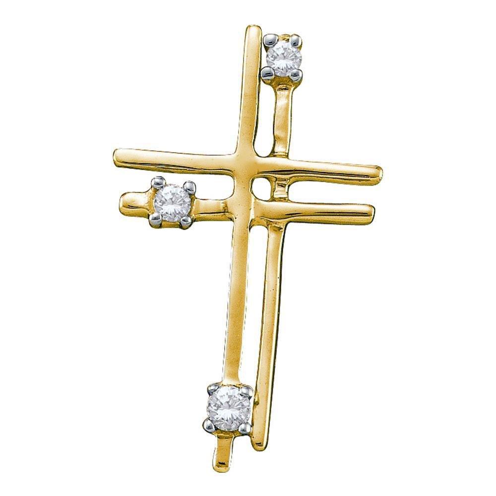 Diamond Simple Layered Cross Pendant 1/20 Cttw 14kt