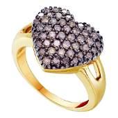 Round Brown Diamond Heart Cluster Ring 100 Cttw 14kt