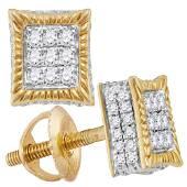 Mens Diamond Square Fluted 3D Cluster Stud Earrings 13