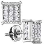 Diamond Square Cluster Stud Earrings 12 Cttw 10kt