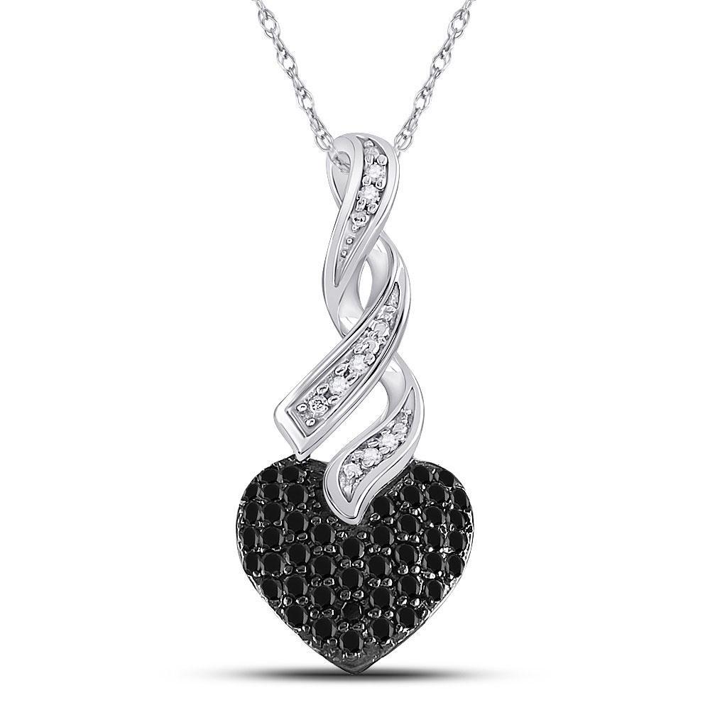 10k White Gold Round Black Color Enhanced Diamond Triquetra Heart Pendant 1//10