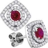 78 CTW Round Ruby Diamond Fashion Earrings 18kt White