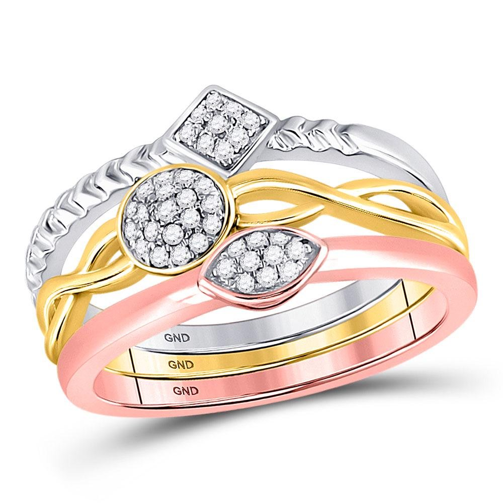 1/6 CTW Round Diamond 3-Piece Stackable Ring 10kt