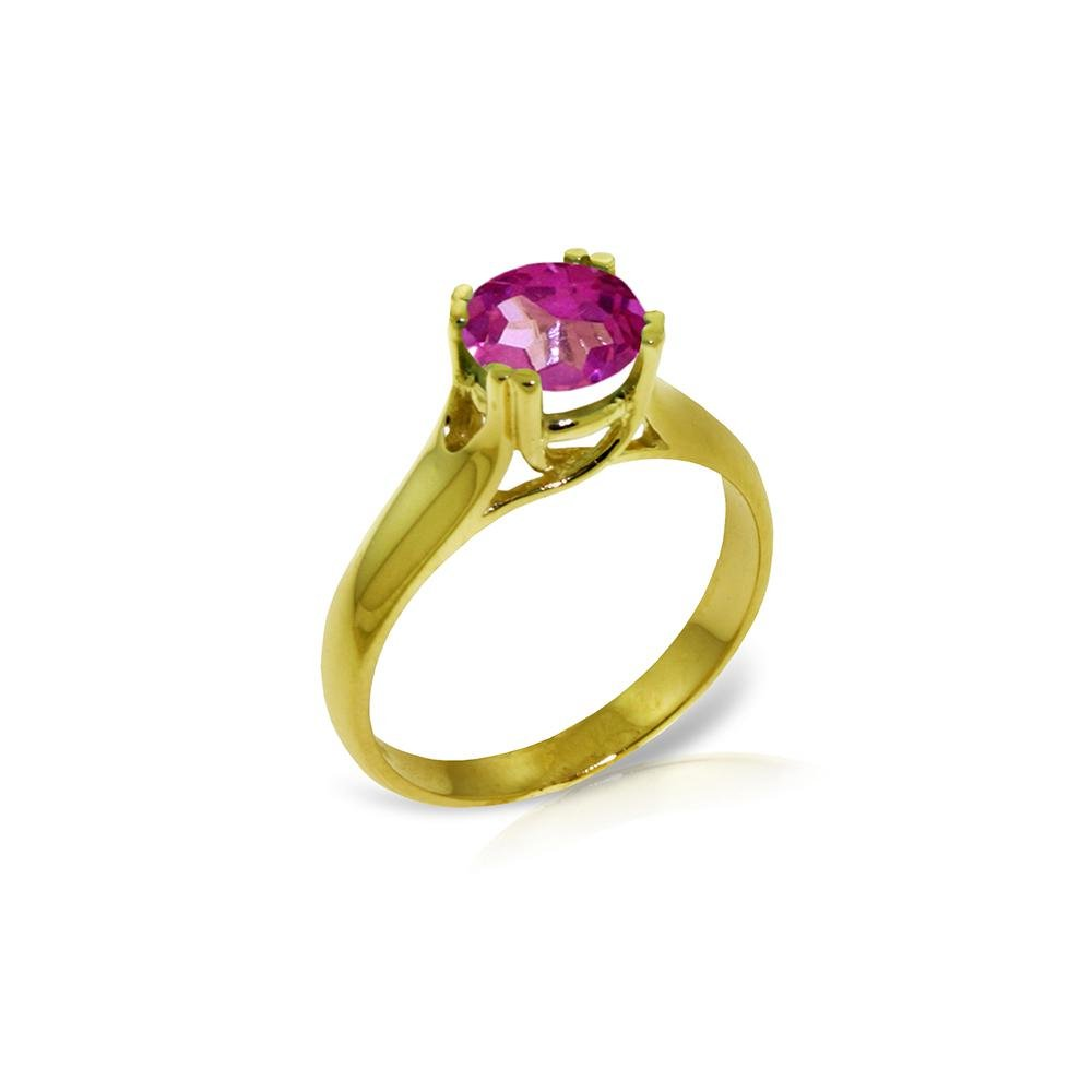 Genuine 1.10 ctw Pink Topaz Ring 14KT Yellow Gold -