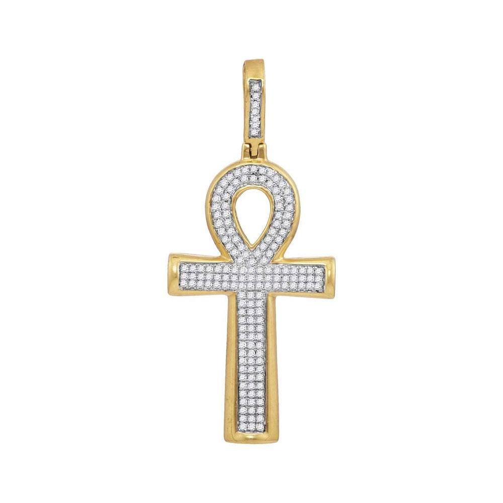 1/3 CTW Mens Round Diamond Ankh Cross Charm Pendant