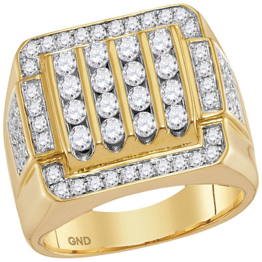2 CTW Mens Round Diamond Square Cluster Ring 10kt